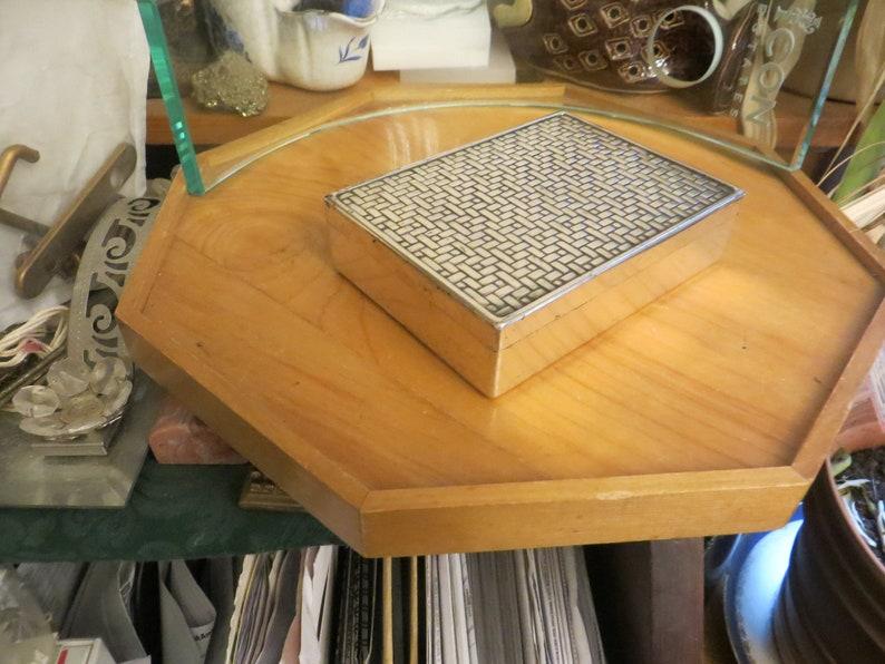 Old Silver Plated Trinket Box w weaved top vintage