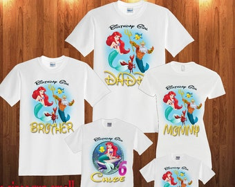 Ariel The Little Mermaid Birthday Shirt Long Sleeve And Short Custom Personalized Shirts For All Family