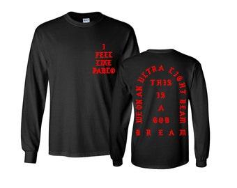 Me siento como Pablo la Real vida de Pablo Yeezy MSG Kanye West roja manga  larga y manga corta camiseta be298f2816b