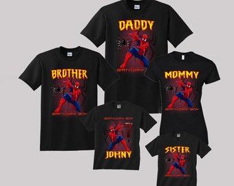 815e37bbf Spiderman Birthday Shirt Custom personalized shirts for all family, Black