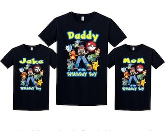 Pokemon Birthday Shirt, Pokemon Custom Shirt, Personalized Pokemon Shirt, Pokemon family shirts, Birthday t-shirt for girls and boys