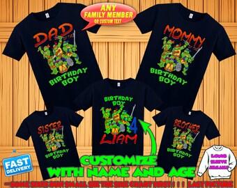 Ninja Turtles birthday shirt, Teenage Mutant Ninja Turtles birthday tshirt, tmnt theme party shirts, ninja turtles family matching shirts