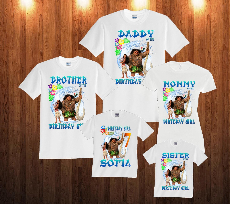 CHILDRENS  KIDS T SHIRT*BIRTHDAY AGE PERSONALISED  *MOANA 1,2,3,4,5,6,7,8