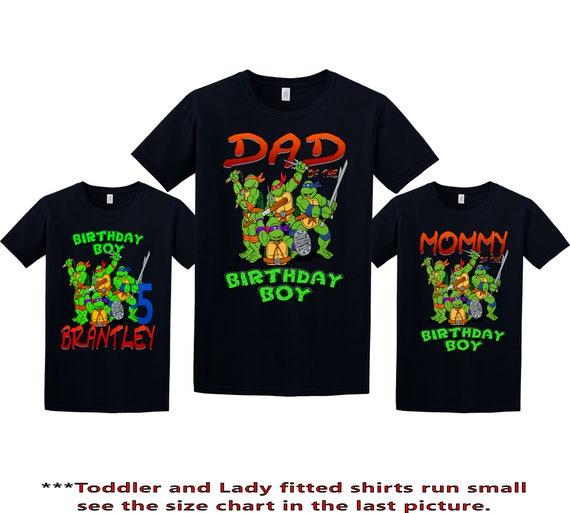 TMNT Ninja Turtles birthday shirt Personalized Custom Name Age Kids T-Shirt t2