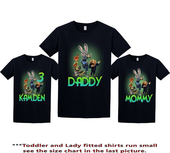 NEW CUSTOM PERSONALIZED ZOOTOPIA BIRTHDAY T SHIRT PARTY FAVOR ADD NAME