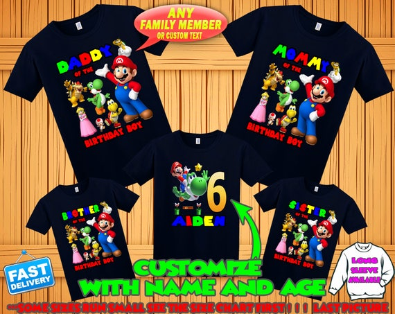 Birthday Outfit Personalize MARIO Birthday T-Shirt w//Name /& Age