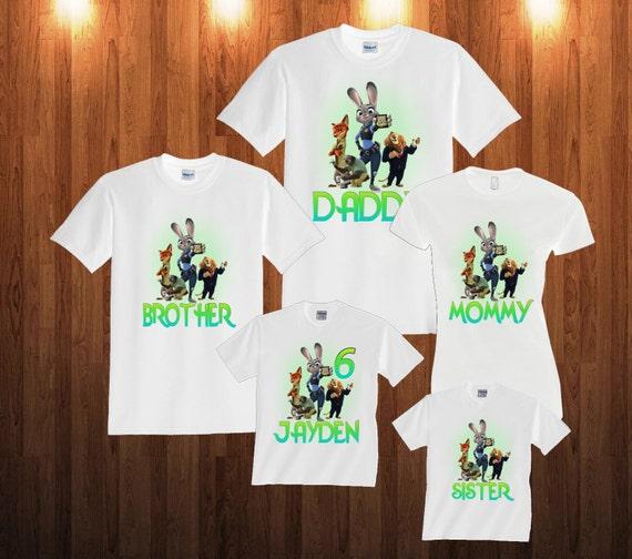 Zootopia Birthday Shirt Personalized Custom T-Shirt Family Black shirts