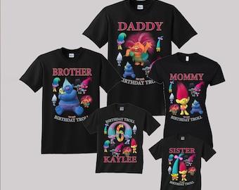 Trolls Birthday Shirt Custom personalized shirts for all family, Black