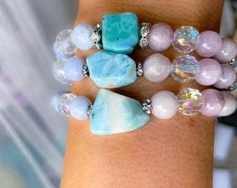 Larimar bracelet, kunzite bracelet, blue lace agate jewelry, angel protection, unicorn, protection bracelet, mermaid, spiritual, sparkling