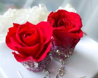 Ruby, earrings,EverLast rose, earrings, red roses, 4th of July, real roses, crushed  crystal earrings,  rose jewelry, I am Keshet, Gift