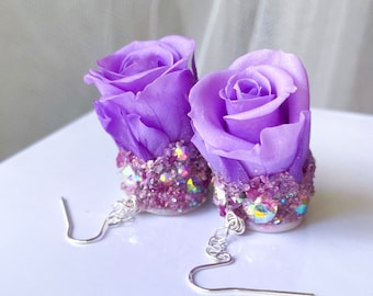Ruby, roses, purple, rose, earrings, fairy, angel, I am Keshet, real, flowers, raw crystal jewelry, angelic, nature, wedding, gift, for her