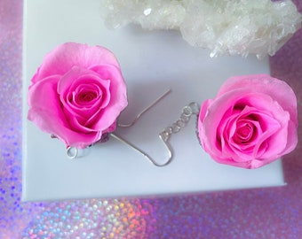 EverLast, rose, earrings, pink roses, real roses, rubies, sterling silver, crystals, gift for, bridesmaids, bride, daughter, sister, wedding