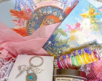 Travel gift, housewarming, gift set, Angel protection, keychain, new home gift, cherub keychain, star keychain, rainbow, sage, candle kit,