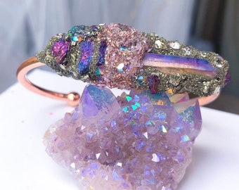 Crushed crystal cuff, angel protection, cuff, raw gemstone angel aura bangle, gift for her, gift, girlfriend, daughter gift, wife gift