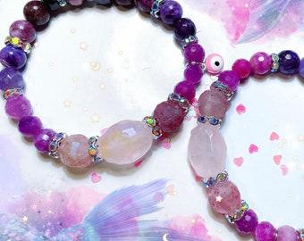 Ruby and garnet bracelet, birthstone bracelet,  Leo, gift for her, starseed, empath, empath, spiritual, IamKeshet,  Angel protection, eye