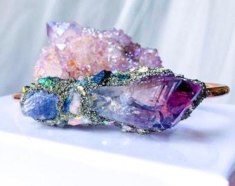 The Tanzanite Birthstone Cuff, Amethyst Birthstone Jewelry, December Birthstone, February Birthstone, Raw Opal Jewelry, October Birthstone