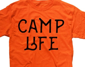 870ef532d6 Camp Life Shirt - Camping T-Shirt - Funny Shirts - Slogan Tee - Camper Shirt  - Graphic Shirt - Canada - Orange + Color Option - Custom Print
