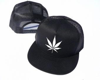 2a71e83264538 The Weed Leaf Hat Cap - 420 - Gift for Stoner - Cannabis Cap - Marijuana Cap  - Classic Snapback Mesh Trucker Cap - Adjustable Cap