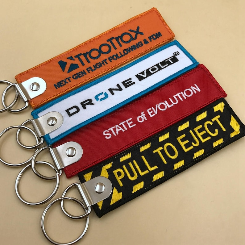 100 custom Personalized Keychains, Custom Embroidered Keychain, Name Key  Chains, Embroidered Keychain Flight Hanging Tag