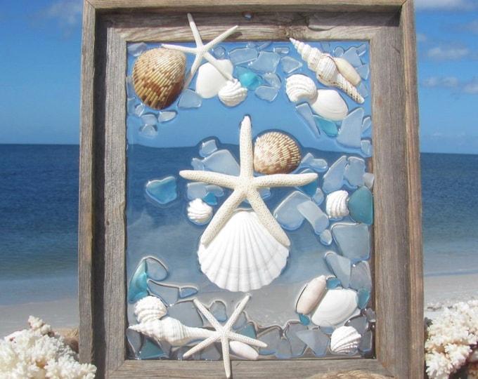 "Sea Glass Wall Art, Starfish Window Hanging, Beach Glass Art with Shells, Marine Beach House Decor, Barn Wood Frame, Hardware Incl., 14x17"""