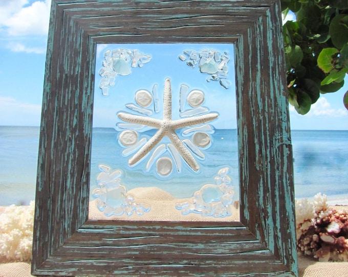 Beach Glass Decor, Beach Christmas Decoration, Coastal Holiday Art, Seaglass Christmas Free Shipping