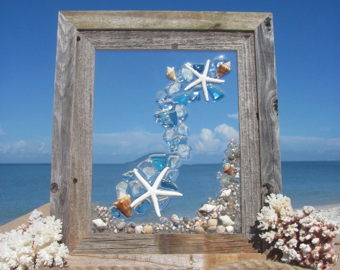 "Sea Glass Wall Art, Starfish Window Hanging, Recycled Blue Glass Mosaic, Marine Beach House Decor, Barn Wood Frame, Hardware Incl., 16x19"""