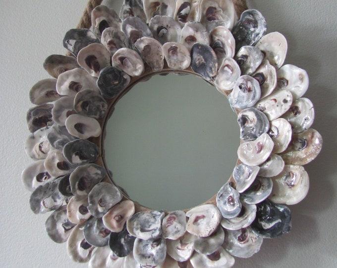 "Oyster Shell Mirror, 12"" Round Mirror, Coastal Seashell Mirror, Nautical Decor, Free Shipping"