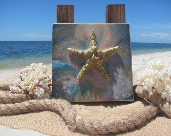 "Starfish Art, Coastal Sea Life, Beach House Decor, Nautical Wall Art, Original Ocean Life Painting, Unframed Gallery Wrapped Canvas, 6x6"""
