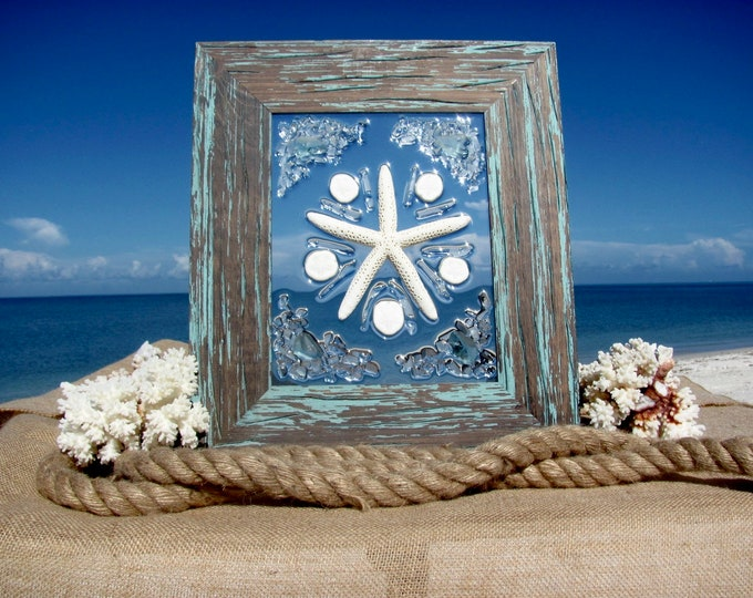 """Marine Wall or Window Hanging, White Starfish and Sea Biscuits, Nautical Sea Glass Beach Home Decor, Rustic Wood Frame 11x15"""", Hardware Incl"""