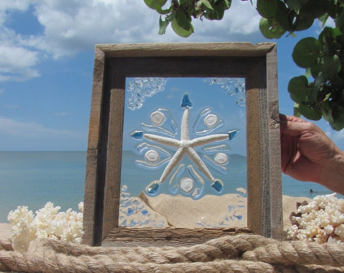 """Nautical Window Hanging, Ocean Life Wall Art, White Starfish with Sea Biscuits, Sea Glass Mosaic, Barn Wood Frame, 11x13"""", Hardware Included"""