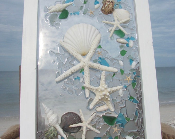 Beach Glass Art, Shells and Starfish, Mosaic Beach Glass Panel, Nautical Wall or Window Decor, White Wood Frame, 14.5x21, Hardware Included
