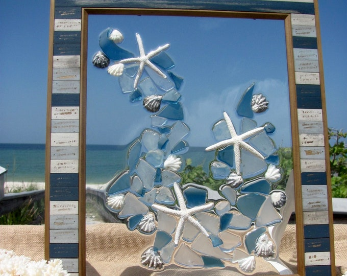 Beach Glass Mosaic Panel, Marine Life Starfish Sea Glass Wall or Window Hanging, Rustic Recycled Wood Frame, 17.75x14.5, Hardware Included
