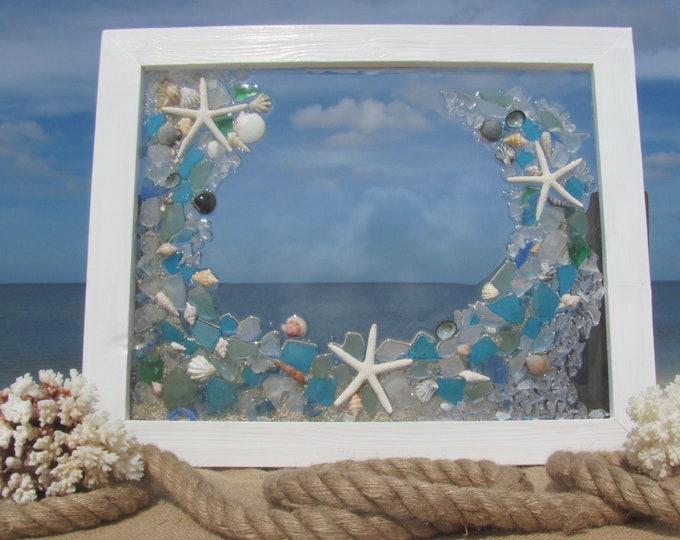 "Sea Glass Art, Shells and Starfish, Mosaic Beach Glass Panel, Nautical Wall or Window Decor, White Wood Frame, 20.5x16.5"", Hardware Included"
