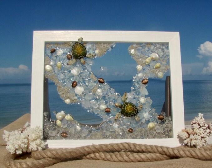 "Baby Sea Turtle Art, Ceramic Figurines, Sea Glass Mosaic, Framed Beach House Decor, Window Hanging or Wall Art, 20.75x16.75"", Hardware Incl."