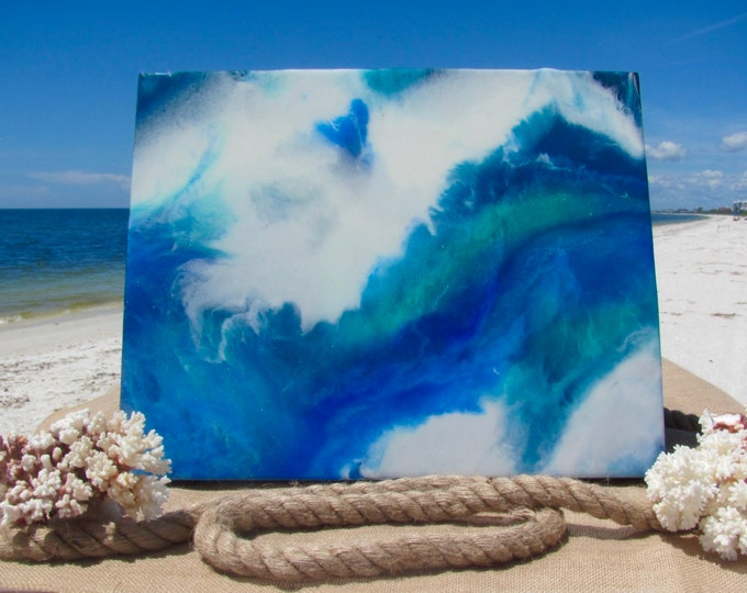 """Ocean Waves Painting, Beach House or Home Wall Decor, Hand Painted Surf Art, Unframed Acrylic Original, Quality Cradled Gesso Board, 16x20"""""""