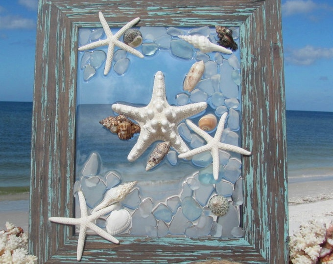 "Beachglass Art, Sea Glass Wall or Window Hanging, Starfish Art, Beach Glass Decor, Rustic Frame 19x16"" Hardware Included, Free Shipping"