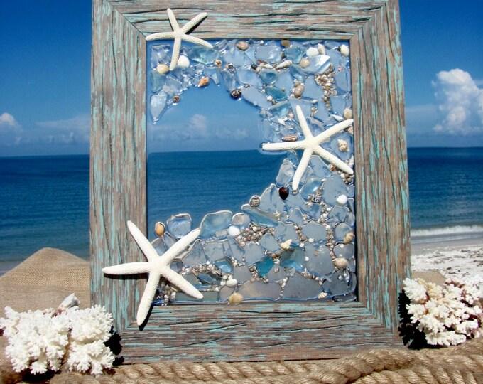 "Ocean Wave Sea Art, Marine Life Sea Glass Wall or Window Hanging, Starfish Beach Glass Decor, Rustic Wood Frame, 19x16"", Hardware Included"