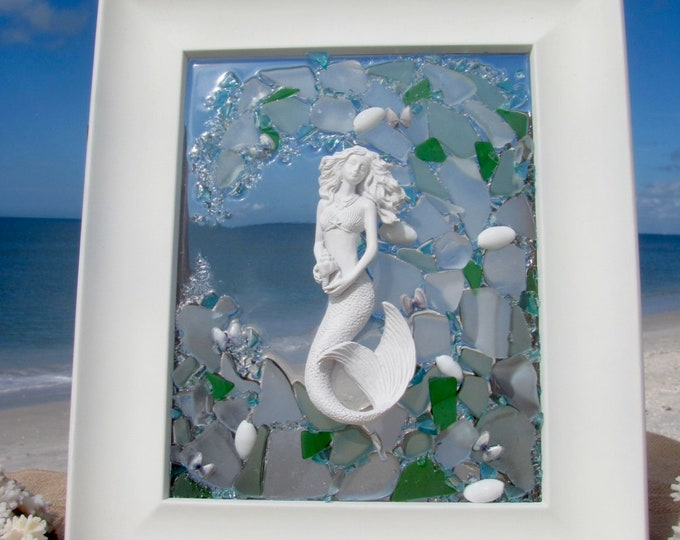 Featured listing image: Mermaid Wall Art, Real Sea Shells Fused to 8x10 Mosaic Beach Glass Panel, Window Hanging, White Wood Frame, Hardware Included, 11.5x13.5""