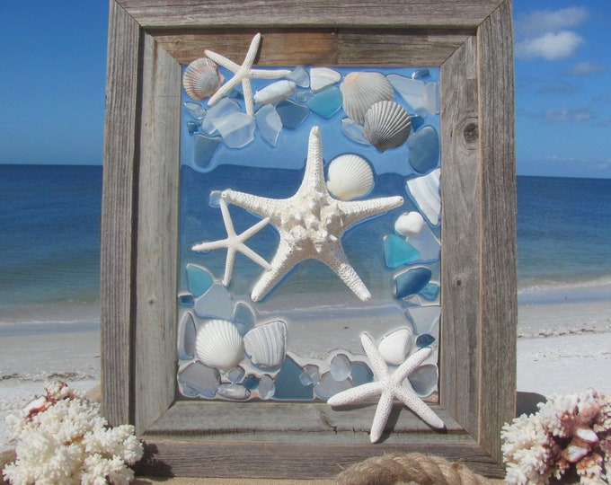 Featured listing image: Sea Glass Wall Art, Starfish Window Hanging, Recycled Blue Glass Mosaic, Marine Beach House Decor, Barn Wood Frame, Hardware Incl., 16x19""