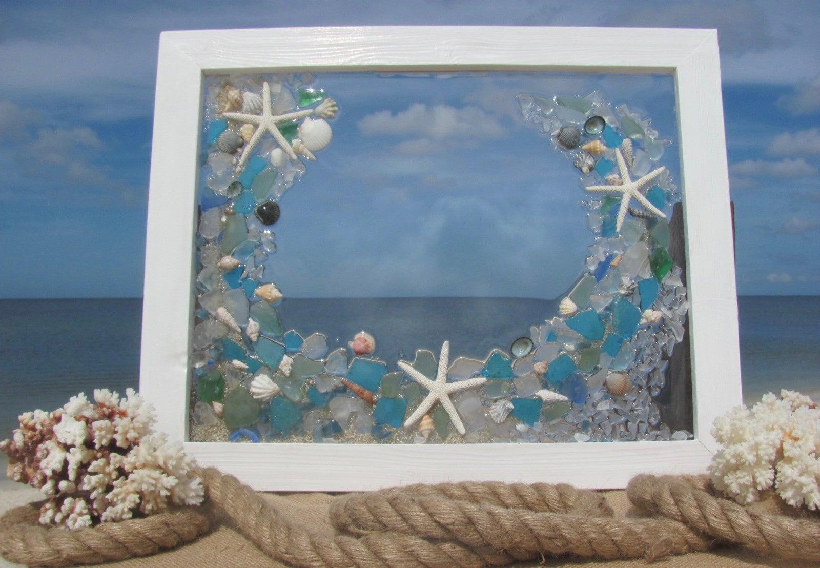 Sea Glass Art, Shells and Starfish, Mosaic Beach Glass Panel ...
