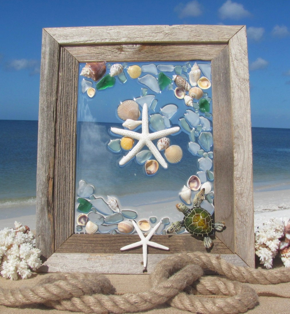 Sea Glass Wall Art, Starfish Window Hanging, Sea Turtle Art, Glass