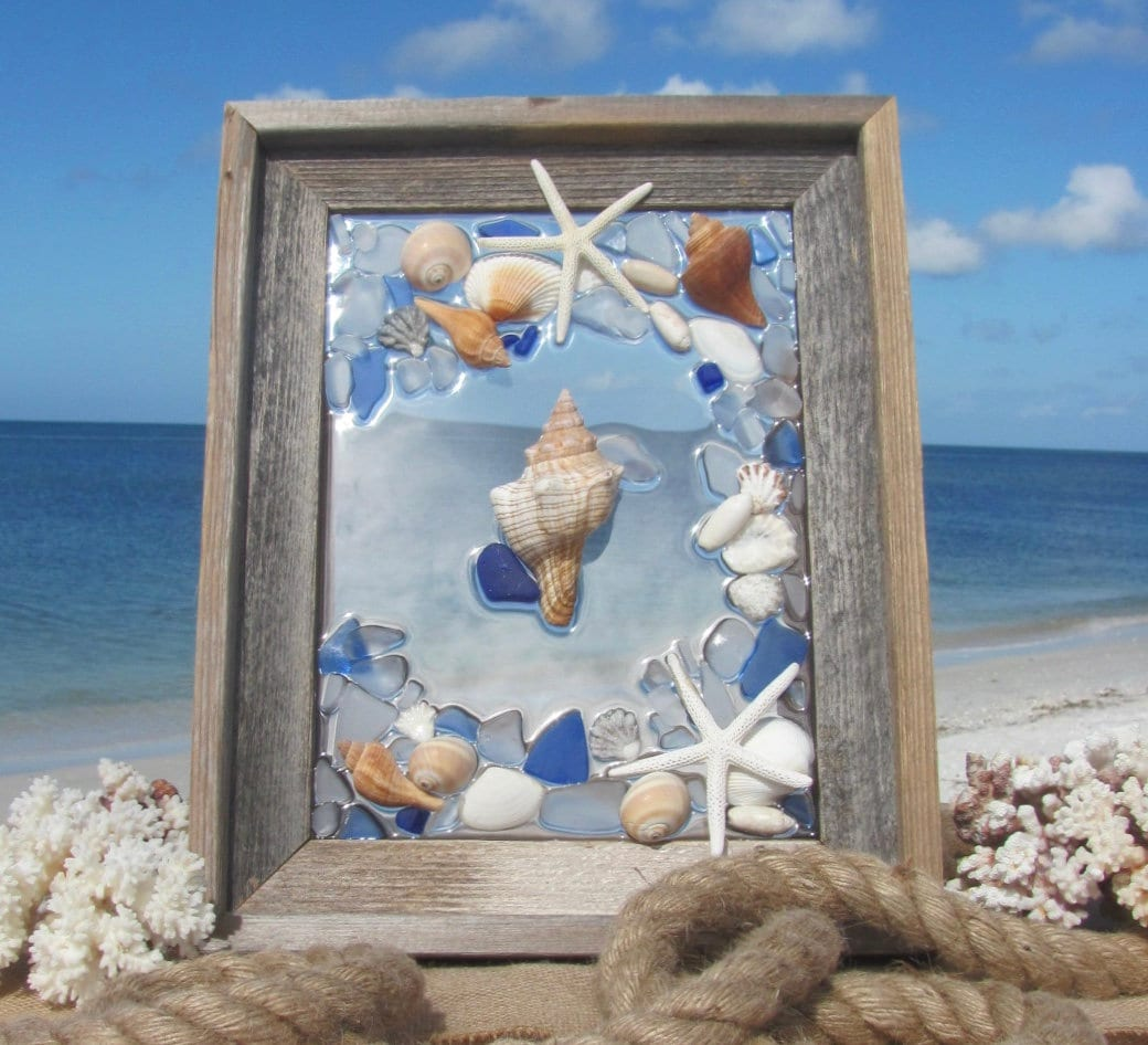 Sea Glass Wall Art Beach Glass Art With Shells And