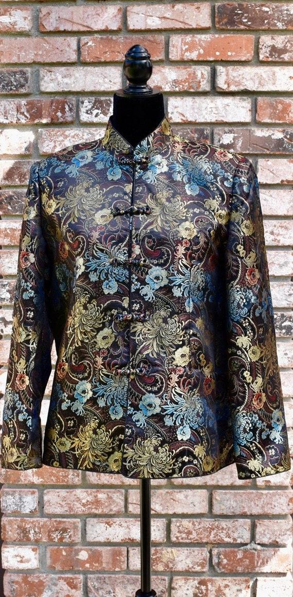 TriPPy Silk Asian Vintage Jacket Rainbow Oriental