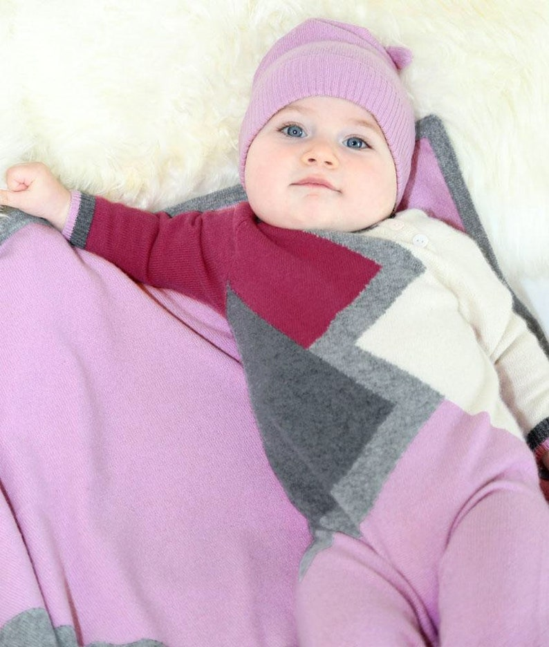 Infant Girl/'s Color Block Cashmere Romper in Pink
