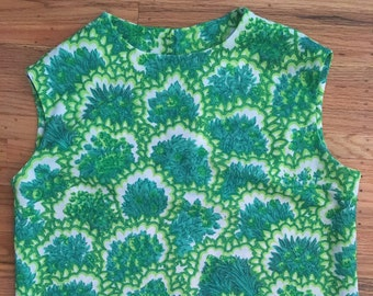 1960's green botanical blouse ~ vintage psychedelic shell top ~ novelty print