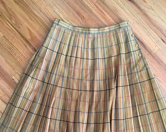 "1980's preppy plaid skirt ~ vintage mustard yellow pleated skirt ~ ""Jaeger"""