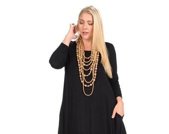 fa93f56156 Plus Size Cocoon Midi Dress Black