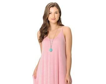 af00276d736 Spaghetti Strap Low Back Harem Maxi Dress with Pockets Blush