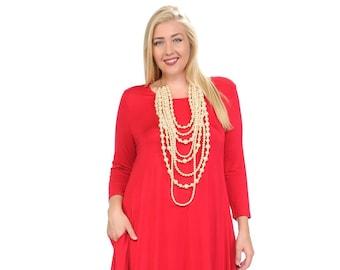 c03a3e2f86 Plus Size Cocoon Midi Dress Red