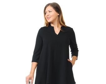 c4094bf0ca3 Plus Size A-Line Tunic Top with Mao Collar Black